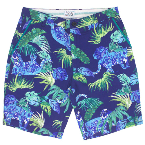 Blue Leopards and Palm Leaves All Over Print Mens Shorts