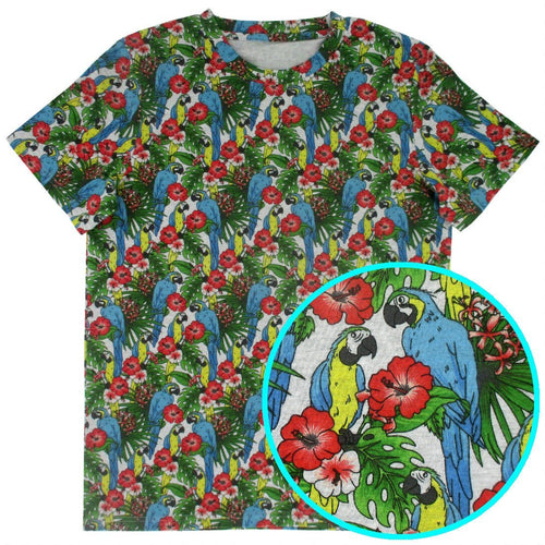 Rock Atoll Bold Colorful Menswear Blue Macaw Parrot and Jungle Leaves Round Neck Cotton Tee