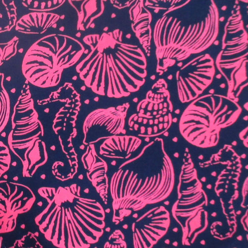 Bright Pink Seashell All Over Print Summer Chinos Shorts for Ladies