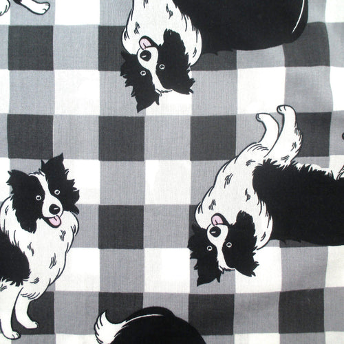 Black and White Checkered Patterned Border Collie Dog All Over Print Cotton Boxer Shorts