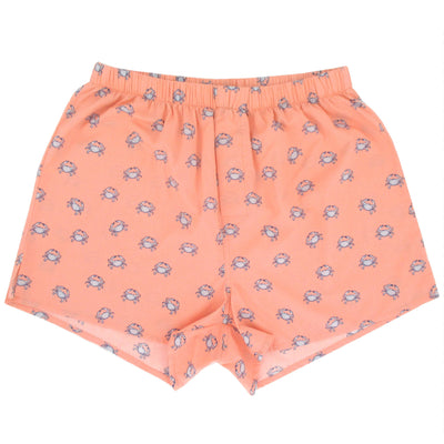 Blue Crab All Over Print Sea Creatures Themed Boxer Shorts in Orange