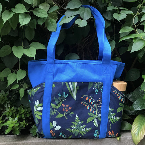 Blue Floral Plant Succulent Print Cotton Weekend :Tote Bag with Pockets
