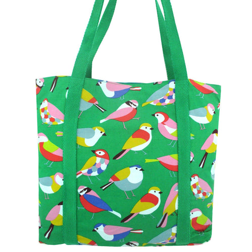 Colorful Bird All Over Print Large Capacity Grocery Shopper Tote Bag in Green