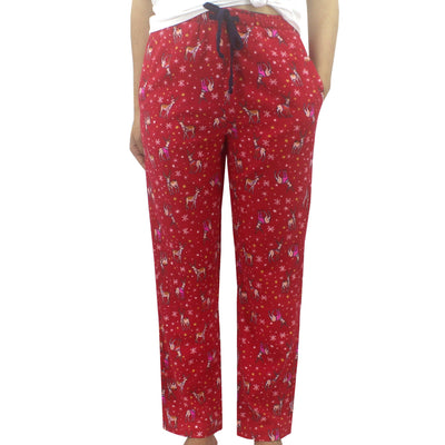Bright Red Festive Reindeer Animal Print Soft Cotton Flannel Pajama Pant Bottoms for Women