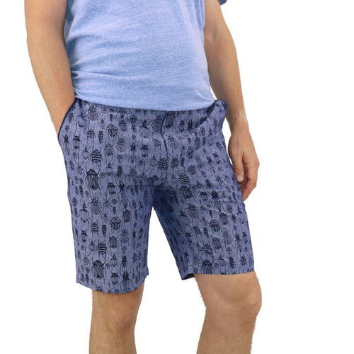 Stag Beetle All Over Print Purple Blue Men's Shorts Preppy Fit