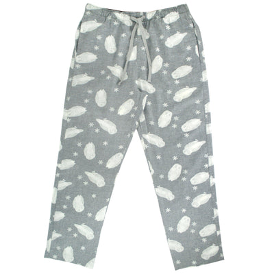 Light Grey Owl All Over Print Soft Flannel Pajama Pants Bottoms in Grey