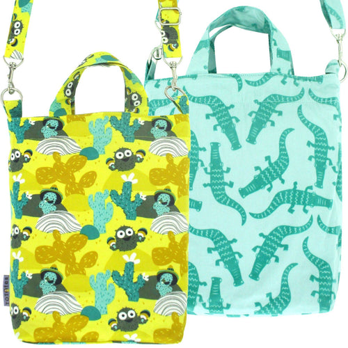 Pack of 2: Bright Colorful Crossbody Tote Duck Bag in Desert Cactus Crocodile All Over Print