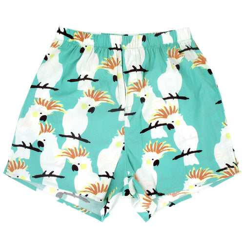 Rock Atoll Cockatoo Parrot Print Boxer Shorts in Mint Green