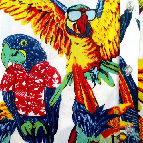 Men's Collared Button Down Shirt with Parrots Tropical Birds All Over Print