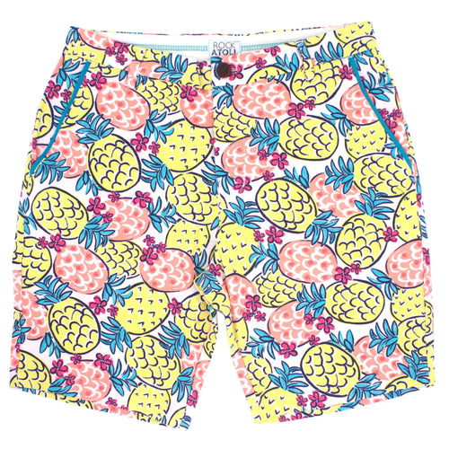 Colorful Pineapple Print Slim Fit Men's Shorts