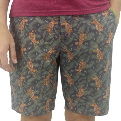 Colorful Tiger Patterned Flat Front Golf Chino Shorts for Men in Bold Prints