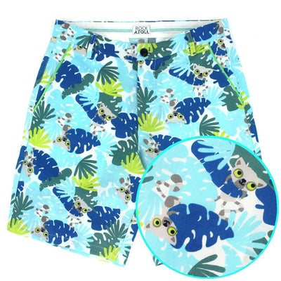 Lemurs and Palm Tree Leaves All Over Print Men's Shorts in Bright Blue