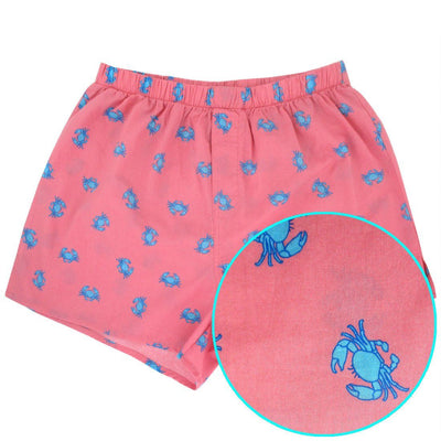 Bright Blue Crabs All Over Print Cotton Boxer Shorts for Men Gag Gifts Stocking Stuffers
