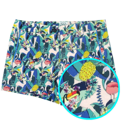 Bold Colorful Women's Casual Going Out Shorts in Loud Tropical Birds Toucan Flamingo Print