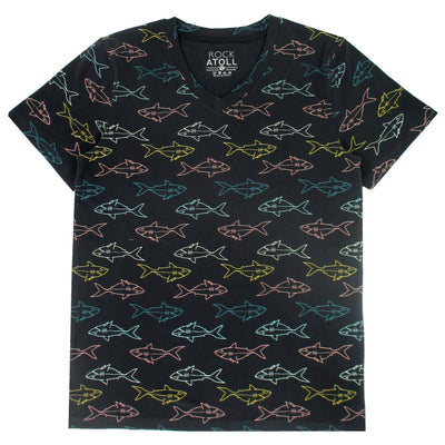 Men's Comfy Cotton Jersey Short-Sleeve Shark All Over Print T-Shirt