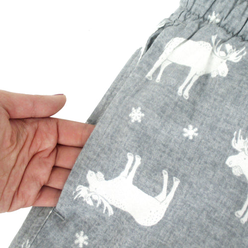 Rock Atoll Sleepwear Reindeer Moose Buck Patterned Grey Flannel Pajama Bottom Pants