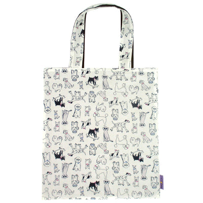 Dog Breed Pet Themed Reversible Canvas Tote Bag in White