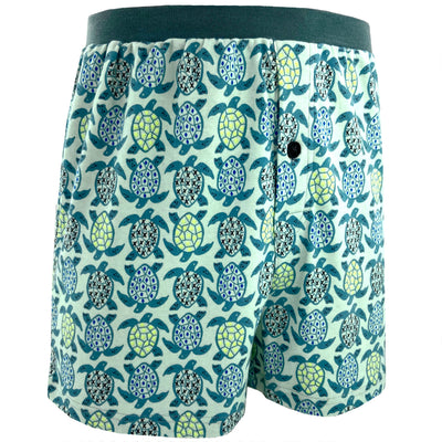 Marine Sea Turtle Patterned Cotton Knit Boxer Pajama Shorts for Men