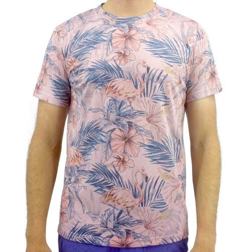 Light Pink Flamingo Patterned Crew Neck Graphic Cotton T-Shirt