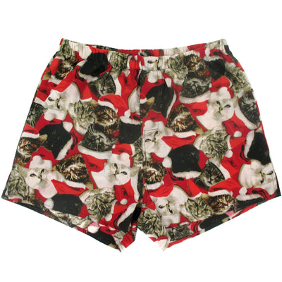 Christmas Themed Cats in Santa Hats Collage Patterned Boxer Shorts Gag Gifts for Men