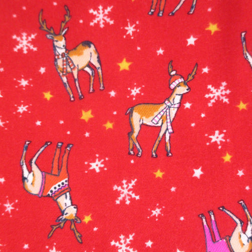 Cute Christmassy Red Reindeer Snowflakes Warm Fuzzy Long Flannel Pyjama Pants for Women