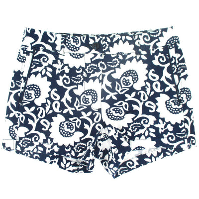 Rock Atoll Womens Flat Front Chinos Shorts in Navy Blue Paisley Floral Print