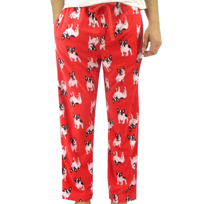 Unisex Boston Terrier All Over Print Red Fleece Pajama Pant Bottoms