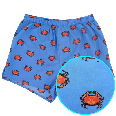 Crab All Over Print Cotton Boxer Shorts for Men. Rock Atoll Sleepwear in Bold Fun Prints