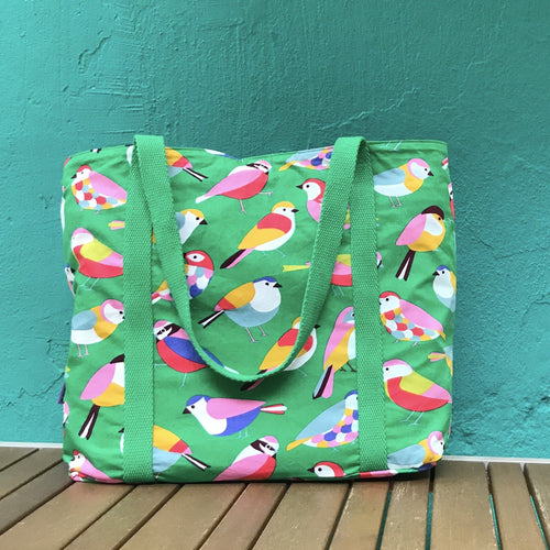 Bright Green Bird All Over Print Large Market Shopper Tote Bag for Women