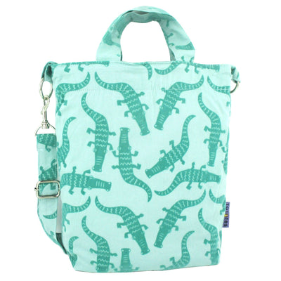 Light Green Crocodile Alligator All Over Print Duck Cross Body Tote Bag