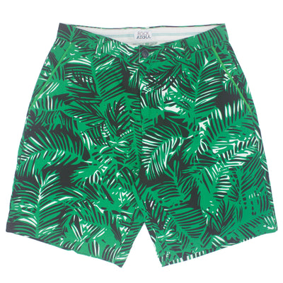 Bright Green Leaf Print Flat Front Men's Shorts