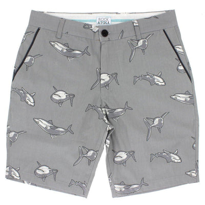 Cute Grey Sharks All Over Print Men's Shorts in Grey
