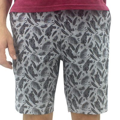 Light Grey Bermuda Shorts. Chino Shorts for Men with Tiger All Over Print