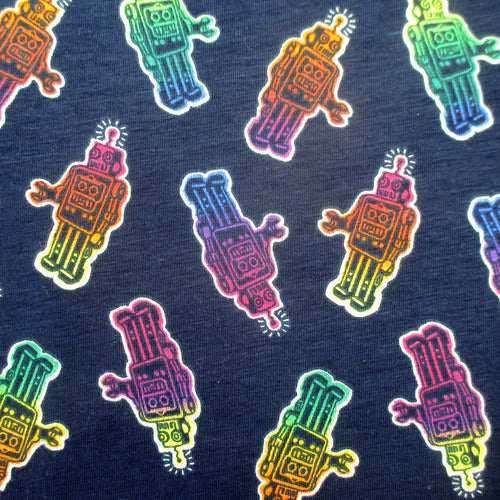 Rainbow Colored Retro Robot Gummies Patterned Short-Sleeve Men's Cotton T-Shirt Top