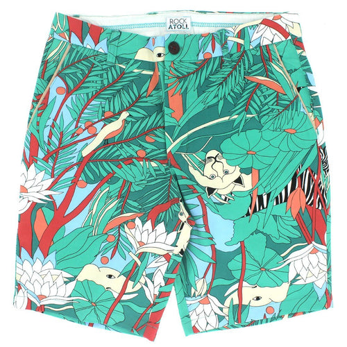 Floral Unusual Quirky Graphic Print Shorts for Men in Green