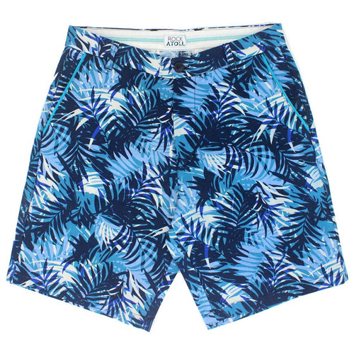 Palm Leaves All Over Print Linen Shorts for Men in Blue