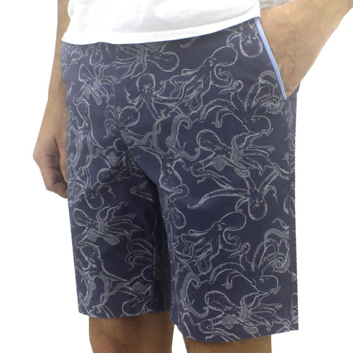 Cool Octopus All Over Print Flat Front Chino Bermuda Shorts for Men in Blue