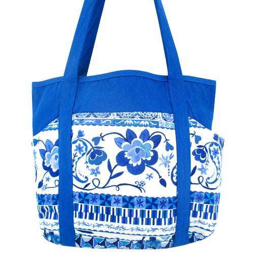 Bright Blue Paisley Floral Pattern Cotton Canvas Shoulder Tote Grocery Bag for Women