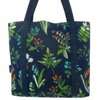 Floral Leaves All Over Print Market Wide Tote Bag with Zip Pocket in Blue