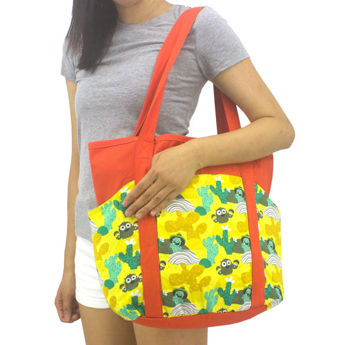 Bright Orange Desert Themed Cactus Pattern Large Utility Shoulder Tote Shopper Bag with Pockets