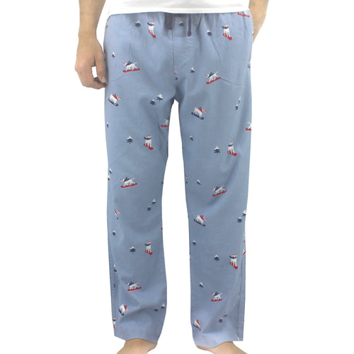 Light Blue Dog Patterned Printed Soft Cotton Flannel Pajama Bottoms Pants for Men