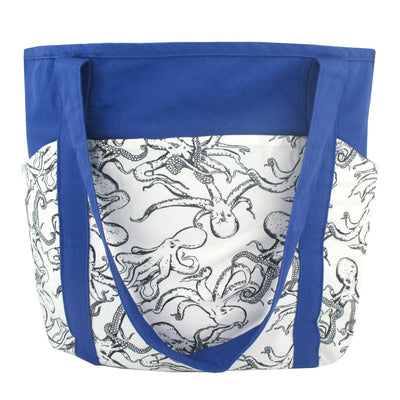 Octopus All Over Print Cotton Large Market Weekend Tote Bag in Blue or Purple