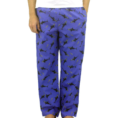 Rock Atoll Shark Patterned Long Pj Sleep Pants in Cotton Poplin