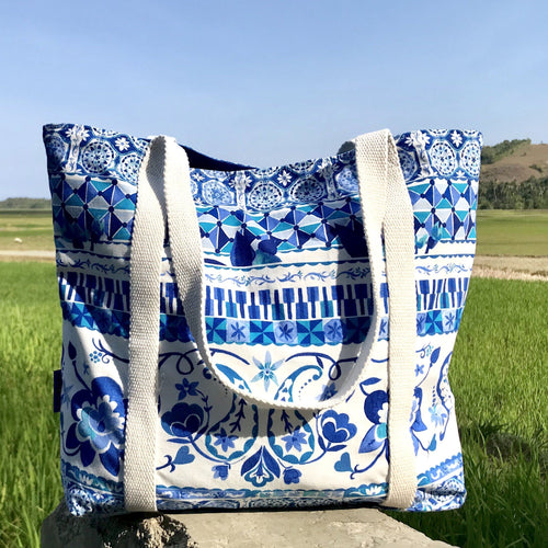 Blue White Floral Paisley Mosaic Print Large Market Shoulder Shopper Tote Bag