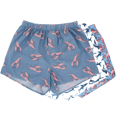 Men's Shark & Lobster All Over Print Cotton Boxer Shorts 3 Pack Set