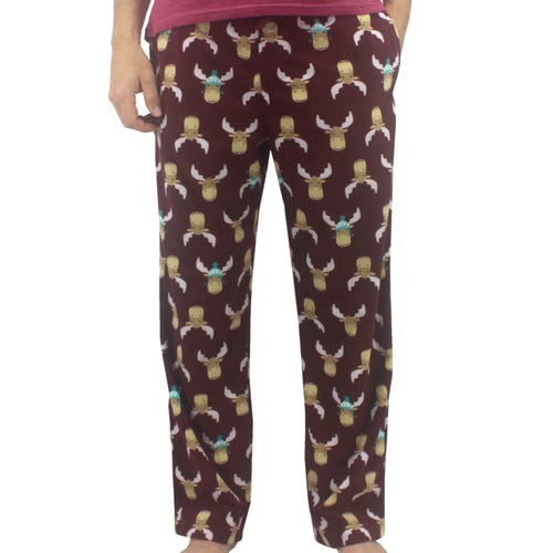 Maroon Red Reindeer Moose All Over Print Soft Fleece Pajama Pants for Men