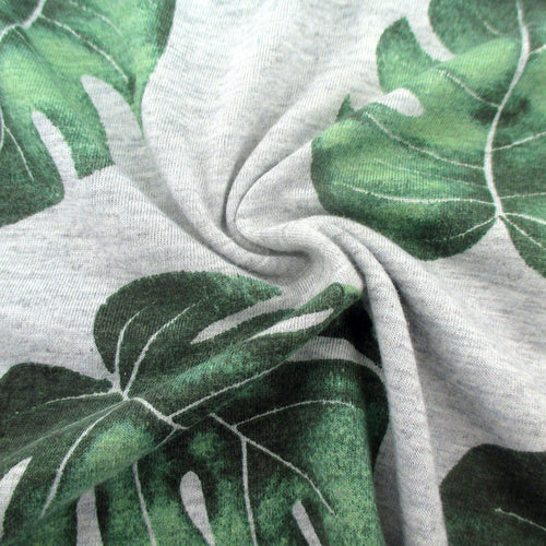 Men's Soft Cotton Jersey Short-Sleeve Monstera Leaf Patterned T-Shirt