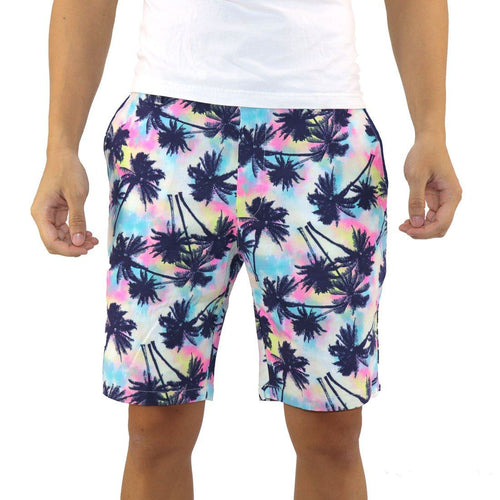 Blue Pink Yellow Trippy Palm Tree Tropical All Over Print Men's Shorts