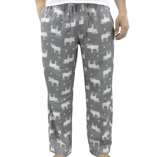 Light Grey Reindeer Moose All Over Print Soft Warm Flannel Pyjama Pants for Men