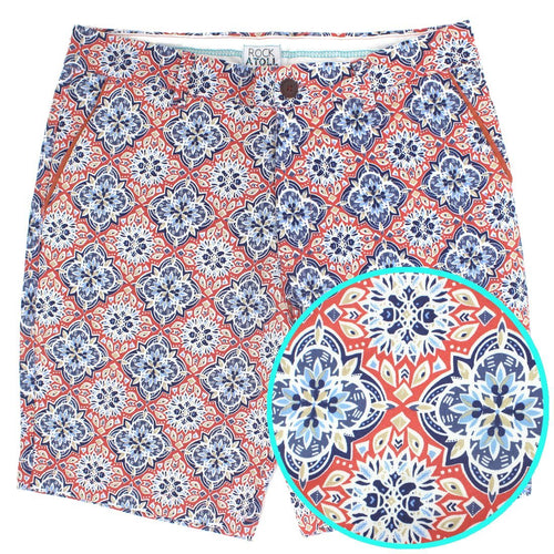 Orange and Blue Moroccan Tile Abstract Print Flat Front Slim Fit Men's Shorts